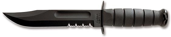 Full-size Black KA-BAR, Serrated Edge 1212