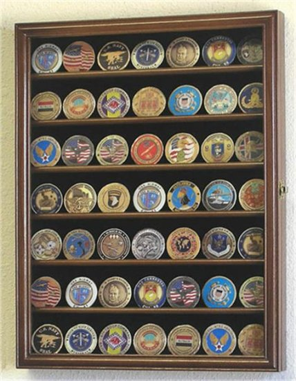 88 Challenge Coin Walnut Display Case Cabinet w/ UV Acrylic Door