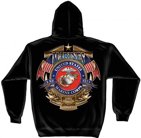 Hooded Sweat Shirt USMC Badge Of Honor