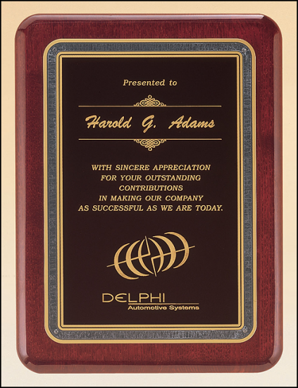 9 X 12 Rosewood stained finish plaque with gold border