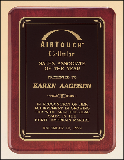 9 X 12 Rosewood stained finish plaque w/ gloss black border