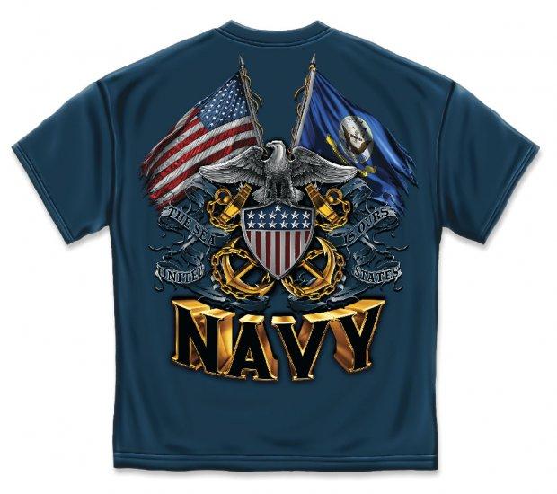 Double Flag Eagle Navy Shield Navy Blue