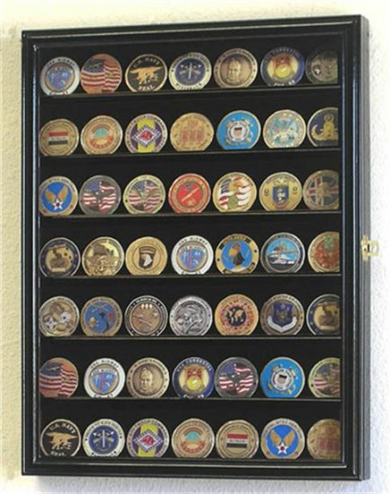 88 Challenge Coin Oak Display Case Cabinet w/ UV Acrylic Door