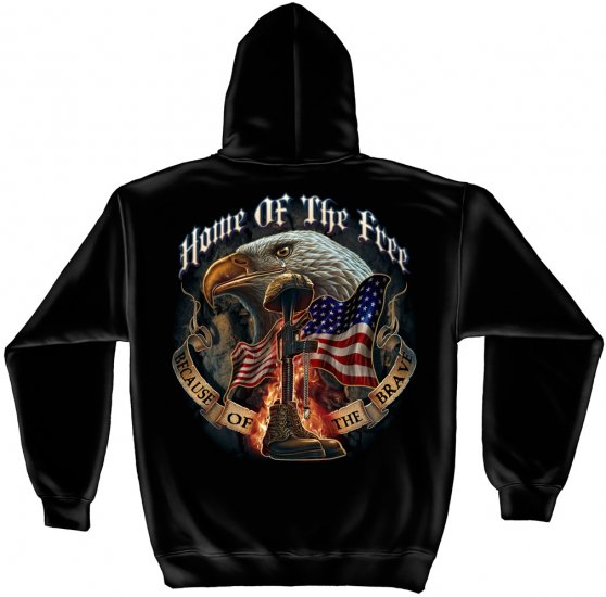 Hooded Sweat Shirt Home Of The Free Because Of The Brave