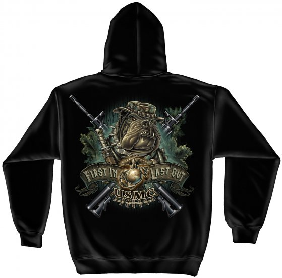 Hooded Sweat Shirt Marine Devil Dog First In Last Out
