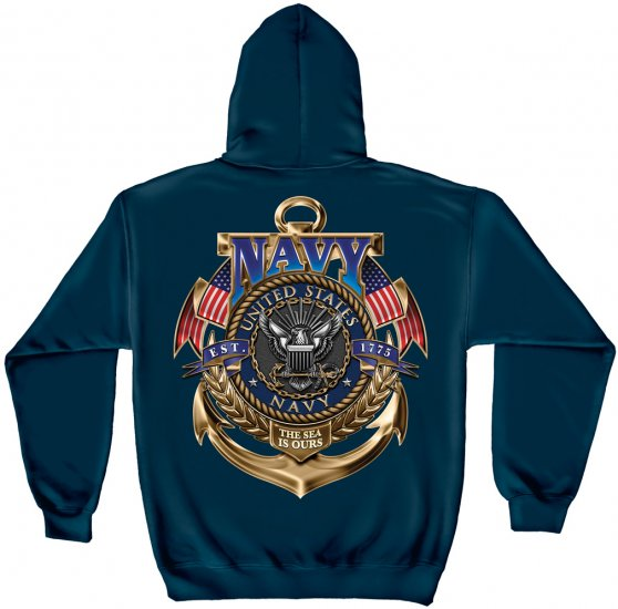 Hooded Sweat Shirt Navy The Sea Is Ours