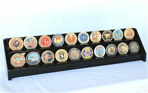 2 Row Coin Display Rack Black