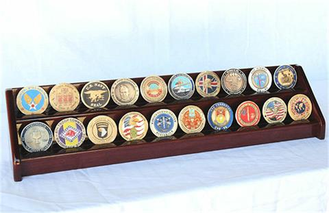 2 Row Coin Display Rack Cherry