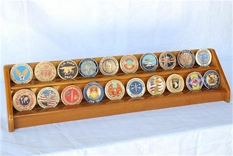 2 Row Coin Display Rack Oak