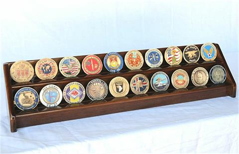 2 Row Coin Display Rack Walnut