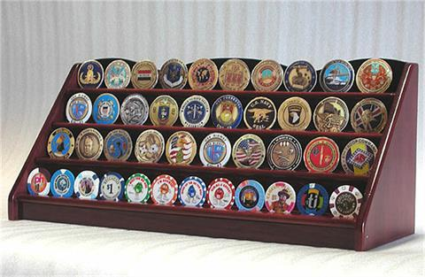 4 Row Coin Display Rack Cherry