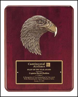 "OCTP3753 - 8"" x 10-1/2"" Piano Finish Bronze Eagle Plaque"