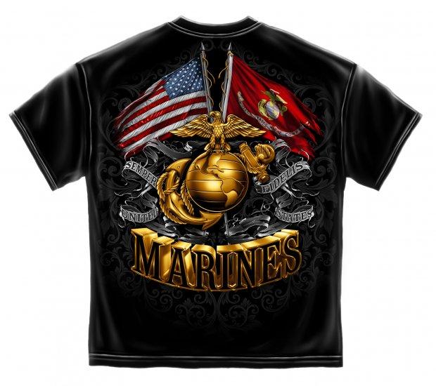 Double Flag Gold Globe Marine Corps Black Gold Foil Stamp