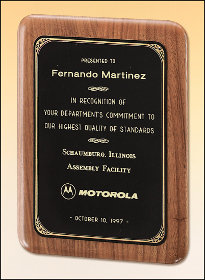 7 X 9 Solid American walnut plaque w/ a brushed brass plate
