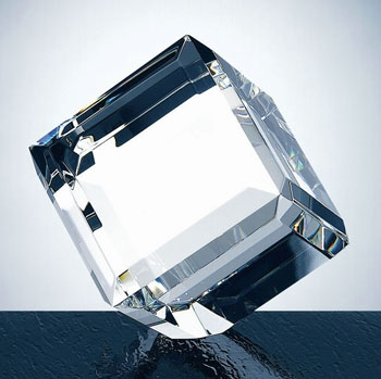 OCPRC631 - Small Clear Beveled Diamond Cube