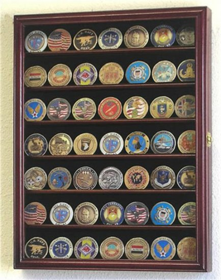 49 Challenge Coin Display Case Cabinet Cherry