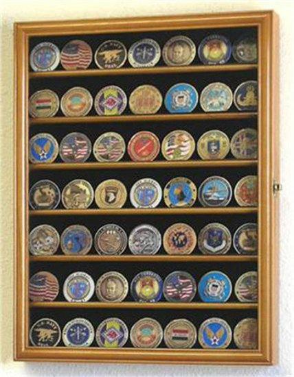 49 Challenge Coin Display Case Cabinet Oak