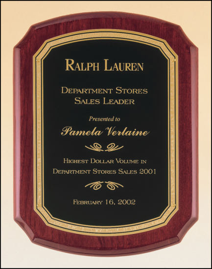10 1/2 X 13 Rosewood plaque w/ a black textured plate and border