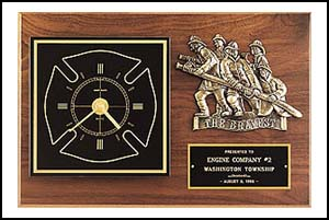 12 X 18 Firematic Award with Antique Bronze Finish Casting