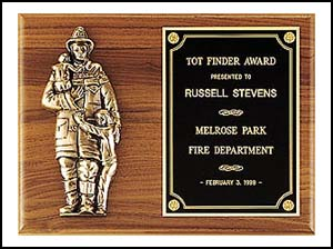 9 X 12 Firematic Award with Antique Bronze Finish Casting
